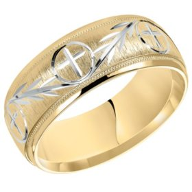 8MM Comfort Fit Cross Band in 14 Karat Two Tone Gold