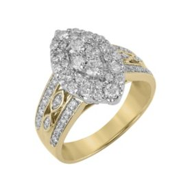 0.96 CT. T.W. Marquise Shaped Diamond Ring in 14K Yellow Gold