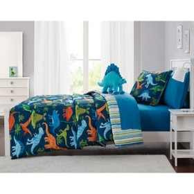 Olivia & Finn Blue Dino Bed-in-a-Bag Comforter Set