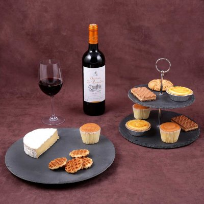 Creative Home 2-Piece Natural Black Slate Serving Set