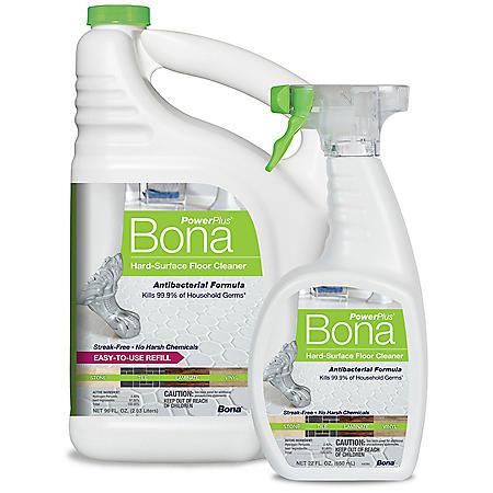 Bona PowerPlus Antibacterial Hard-Surface Floor Cleaner (96 oz. + 22 oz. Bonus Pack)