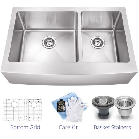 Stahl Handmade - Large 60/40 Farmhouse Kitchen Sink