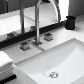 Stahl Ceramic Large Undermount Rectangular Bowl Bath Sink - White