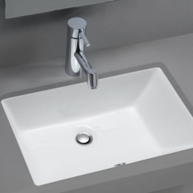 Stahl Ceramic Medium Undermount Rectangular Bowl Bath Sink - White