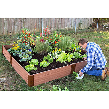"Classic Sienna Raised Garden Bed 8' x 8' x 11"" - 1"" Profile"