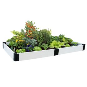 "Classic White Raised Garden Bed 4' x 8' x 8"" - 1"" Profile"