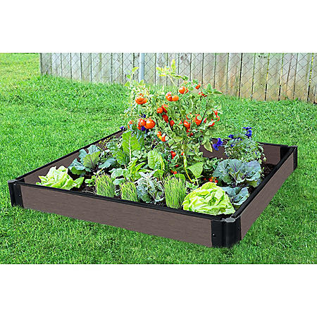 """Tool-Free Weathered Wood Raised Garden Bed - 4' x 4' x 5.5"""""""