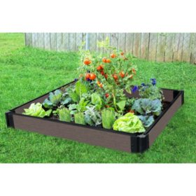 Tool-Free Weathered Wood Raised Garden Bed - 4' x 4' x 5.5""