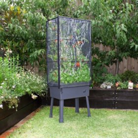 """Patio Ideas Self-Watering Elevated Planter with Trellis Frame and Greenhouse Cover - 15.75"""" x 23.5"""" x 63"""""""