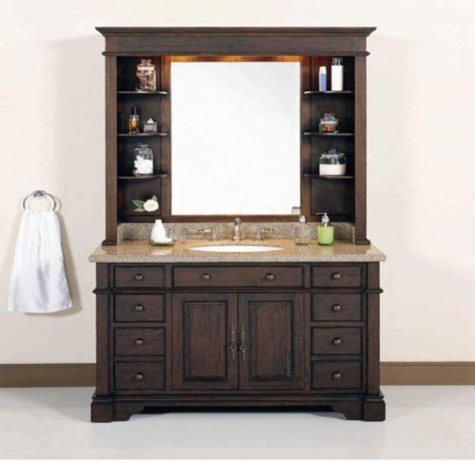 """48""""  Single Sink Vanity with Granite Top and Hutch"""