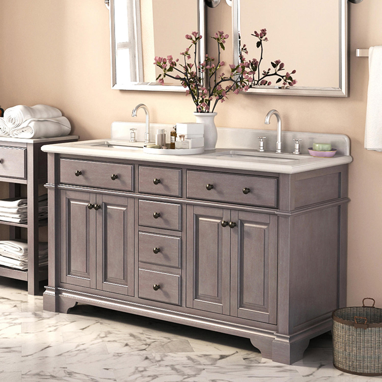"Lanza 60"" Double Sink Vanity with Marble Top"