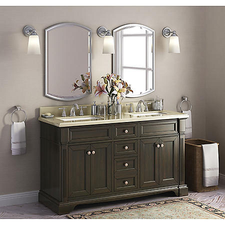 "Bryon 60"" Double Sink Marble-Top Vanity with Backsplash"