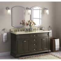 "Bryon 60"" Double Sink Marble-Top Vanity with Backsplash"