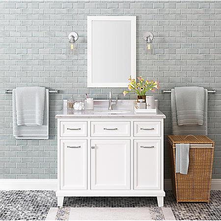 """Kenston 42"""" White Single Sink Vanity with Backsplash"""