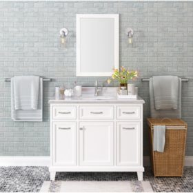 "Kenston 42"" White Single Sink Vanity with Backsplash"