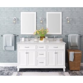"Kenston 60"" White Double Sink Vanity with Backsplash"