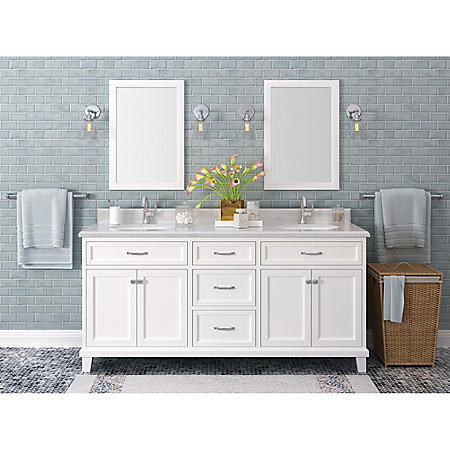 "Kenston 72"" White Double Sink Vanity with Backsplash"