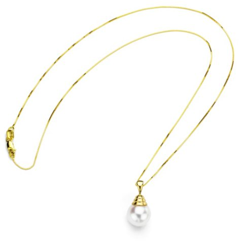 10-11mm White Cultured Freshwater Pearl Pendant in 14K Yellow Gold