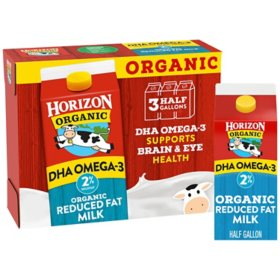 Horizon Organic 2% Reduced Fat Milk with DHA Omega-3 (3 cartons)