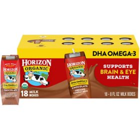 Horizon Organic Lowfat Chocolate Milk with DHA Omega-3 (8 oz. / 18 pk.)