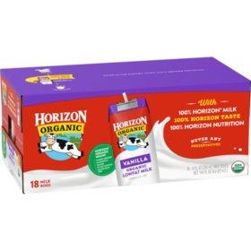 Horizon Vanilla Organic Lowfat Milk 8oz 18pk Sam S Club