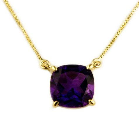 1.53 ct. Cushion-Cut Amethyst Pendant in 14k Yellow Gold