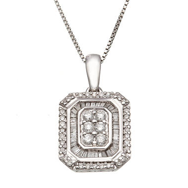 0.50 CT. T.W. Diamond Rectangle Pendant in Sterling Silver (H-I, I1)