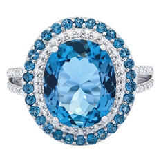 London Topaz & .29 CT. T.W. Diamond Ring in Sterling Silver