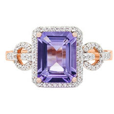 1/5 CT. T.W. Diamond & Rose de France Ring in 14K Rose Gold
