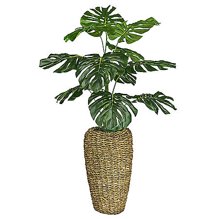 Faux 4' Monstera in Handwoven Urn-Style Basket