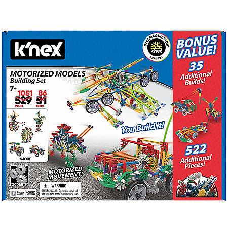 K'NEX Motorized Models Building Set, Contains 1,051 parts