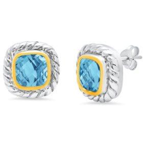 8MM Cushion-Cut Swiss Blue Topaz Stud Earrings in Sterling Silver with 14K Yellow Gold Bezel