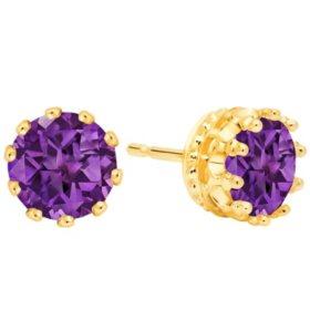 7MM Amethyst Stud Earrings in 14K Gold