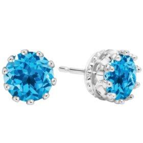 7MM Swiss Blue Topaz Stud Earrings in 14K Gold