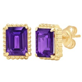 6x8MM Emerald Cut Amethyst Stud Earrings with Beaded Halo in 14K Yellow Gold