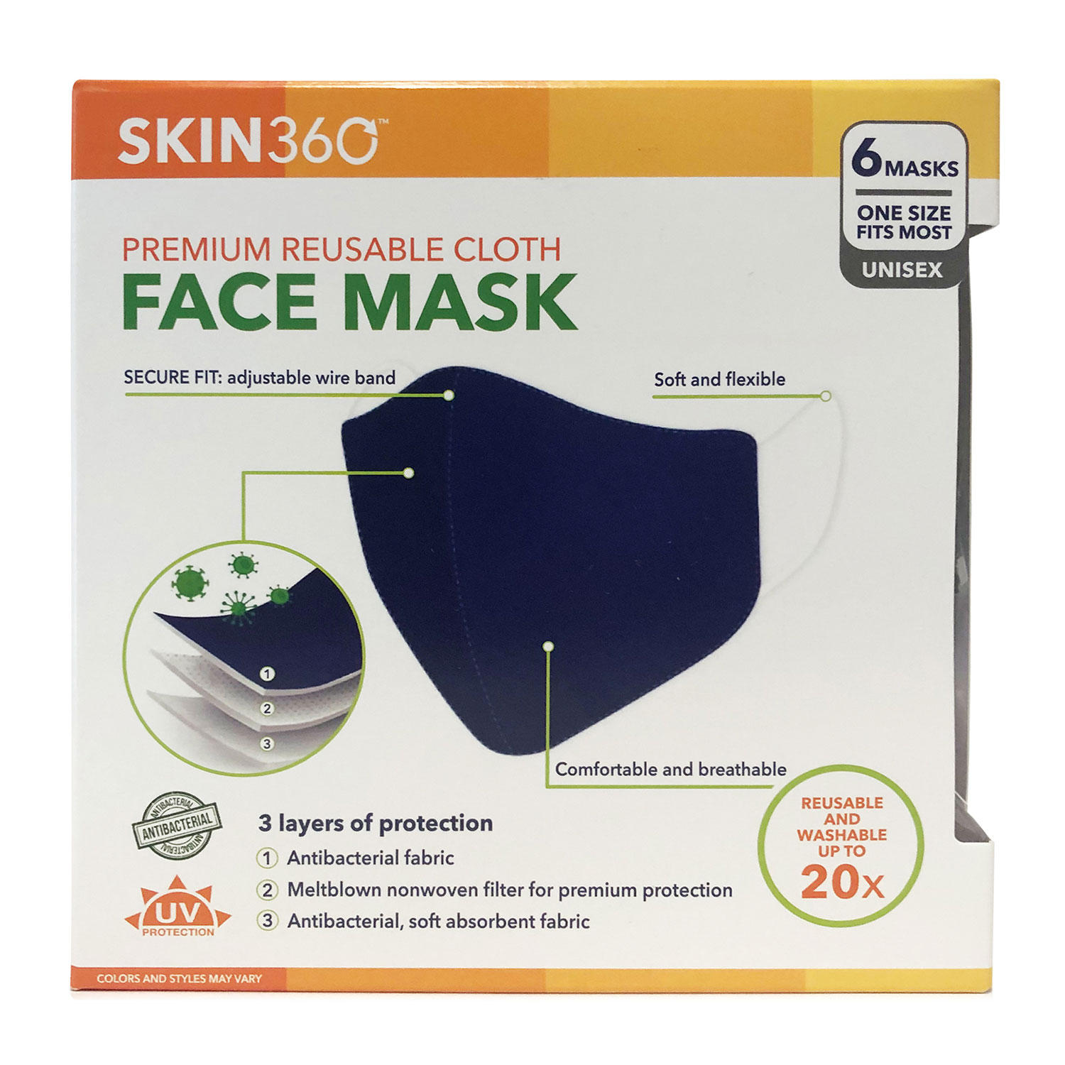 6-Pack SKIN360 Premium Reuseable Cloth Face Mask