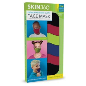 SKIN360 Premium Reusable Cloth Face Mask, Small, Choose your Color (6 pk.)