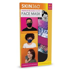 SKIN360 Premium Reusable Cloth Face Mask, Medium/Large, Choose your Style (6 pk.)