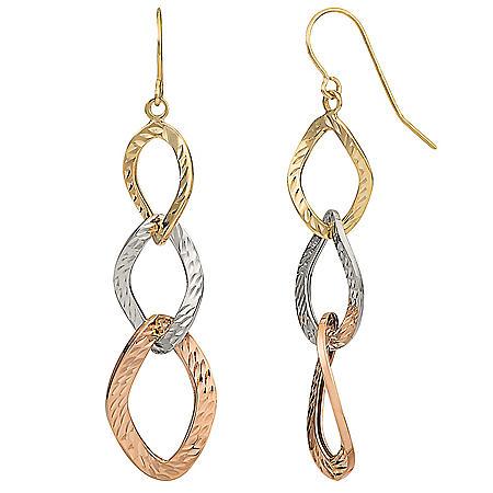14K Tri-Color Gold Graduated Diamond Cut Link Earrings