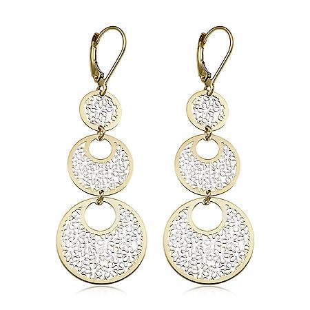 14K Two-Tone Gold 3-Tiered Filigree Drop Earrings