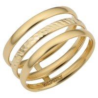 14K Italian Yellow Gold Polished and Diamond Cut Triple Band Ring