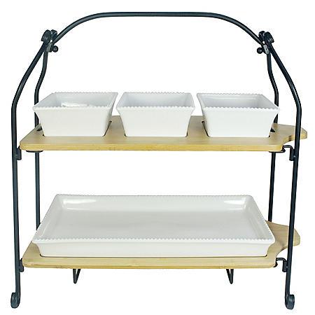 Stoneware and Bamboo 2-Tier Serveware Set