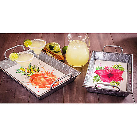 2-Piece Galvanized Tray Set