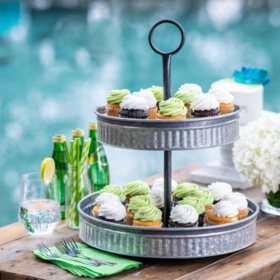 Galvanized 2-Tier Serving Set