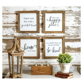 Set of 4 Rustic Wood Farmhouse Signs (Various Sayings)