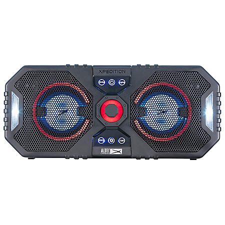 """Altec Lansing Xpedition 4 Everything Proof Portable Waterproof Bluetooth Indoor/Outdoor Speaker with Multi-Colored LED Light Show, Stereo Linking, Dual 4"""" Speakers, Black"""