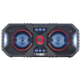 "Altec Lansing Xpedition 4 Everything Proof Portable Waterproof Bluetooth Indoor/Outdoor Speaker with Multi-Colored LED Light Show, Stereo Linking, Dual 4"" Speakers, Black"