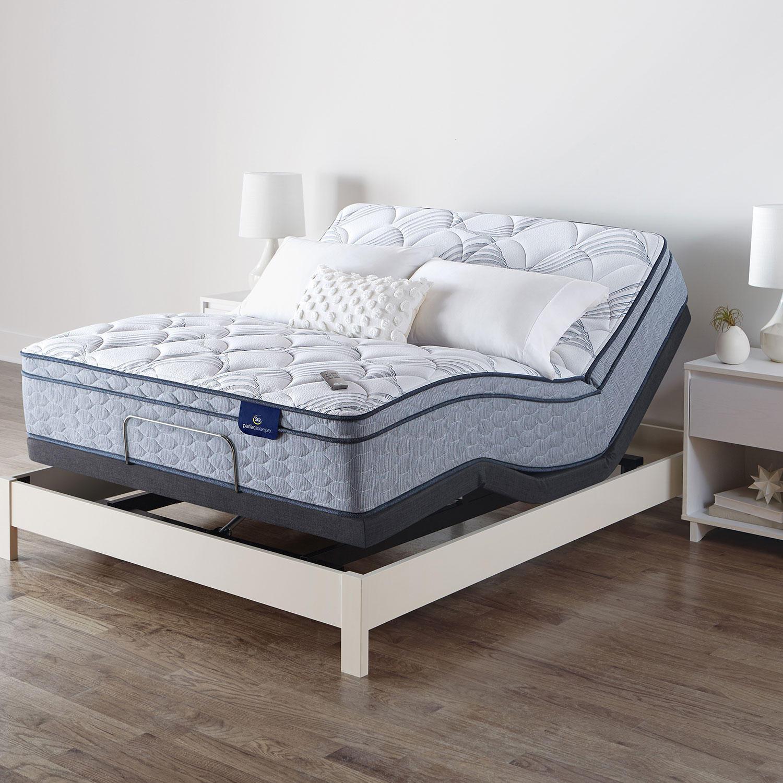 Serta Perfect Sleeper Ashbrook Eurotop Queen Mattress and Motion Essentials IV Adjustable Base