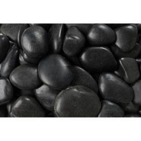 20 lb. Black Grade A Polished River Pebble 1-2in. (108-Pack Pallet)