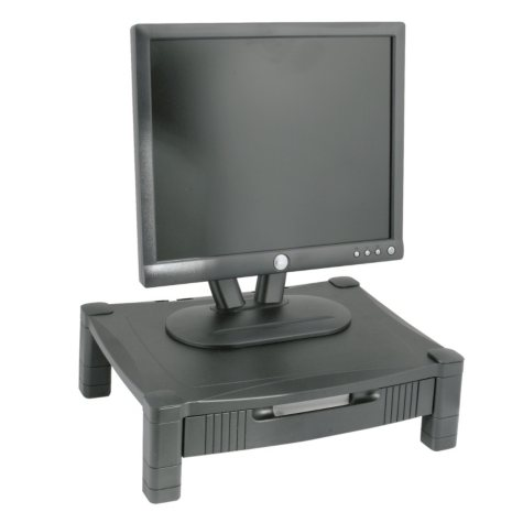 Kantek Height-Adjustable Stand with Drawer, Black